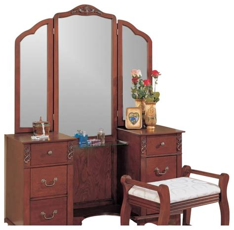 Bedroom Vanity Coaster Traditional Wood Makeup Vanity Table Set With