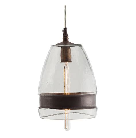 Garrison Antique Brass Industrial Modern Clear Glass Industrial Glass Pendant Light