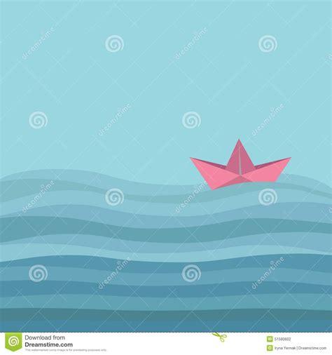 origami boat flat origami paper boat and ocean sea waves flat design love