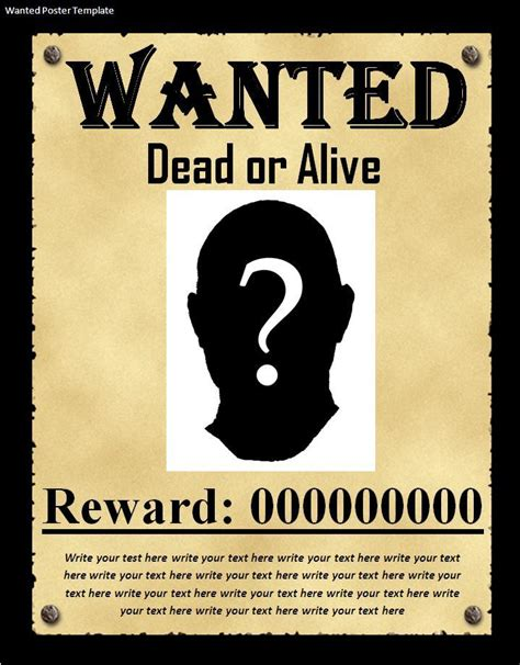 wanted poster template word 7 wanted poster templates excel pdf formats