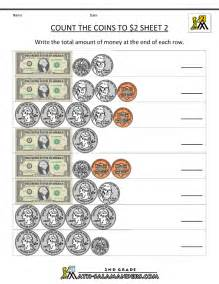 2nd grade money worksheets count the coins to 2 dollars 2