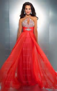 red chiffon floor length junior homecoming dress