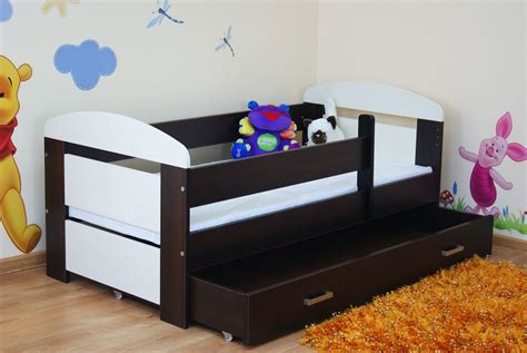 Toddler Bed Kate 140x70 Cream And Dark Walnut Drawer Best Toddler Beds For