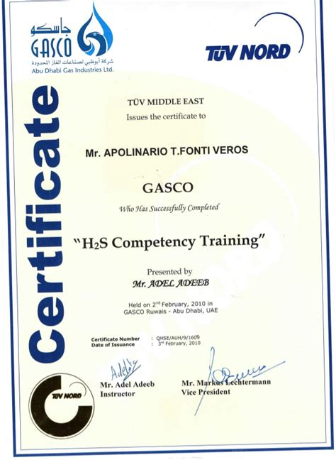 H2s Card Template by H2s Competency Certificate