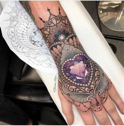 pinned  atlovemebeauty paarse gem tattoos lace