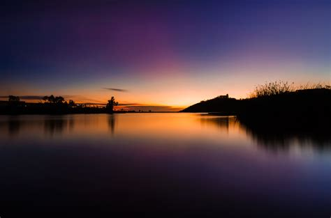 wallpaper sunset lake dusk  nature