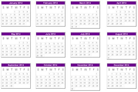printable yearly calendar 2014 landscape 2014 calendar uk