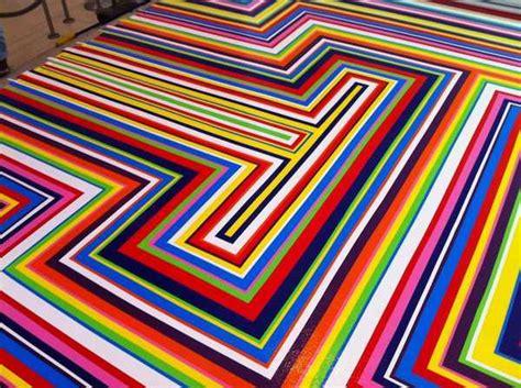 modern floor decoration  tape strips creating cool rainbow design