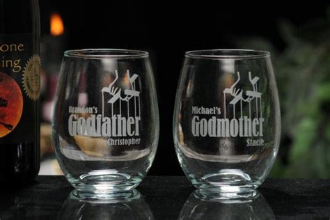 stemless wine glasses with the godfather movie logo