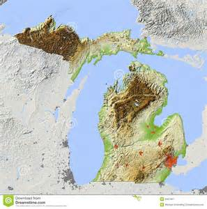 Michigan Topographic Map by Michigan Relief Map Royalty Free Stock Photography