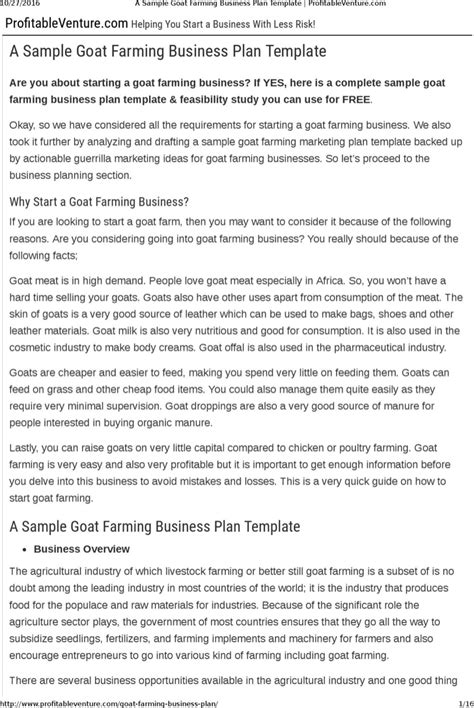 download goat farming business plan template free download