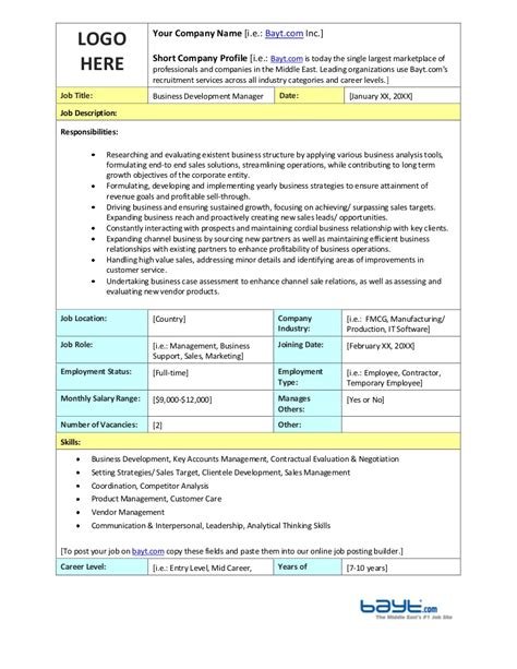 business development description business development manager description template by