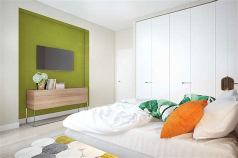 green accent wall bedroom contemporary bedroom with green accent wall interior