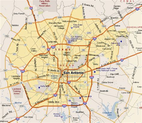 map of san antonio tx san antonio map by area
