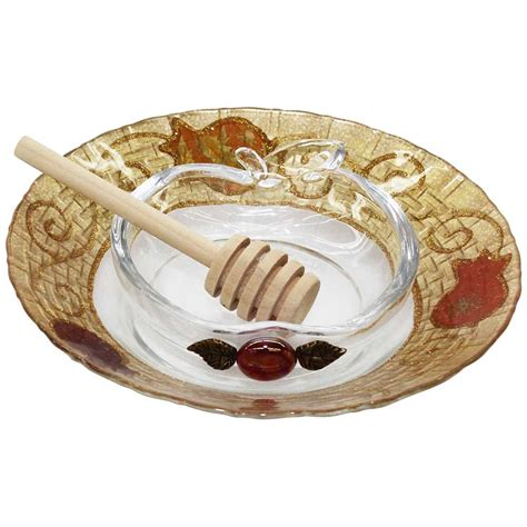glass applique high gifts glass applique honey dish and plate