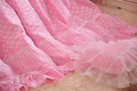 Korea Pink Cotton Lace Top Set Pink Berkualitas cotton princess korean bedding sets king lace satin bedding bedskirt blue pink white dot