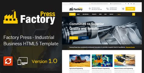factory press industrial business html5 template by
