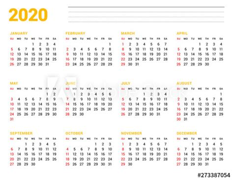 calendar template   year stationery design week starts  sunday  months   page