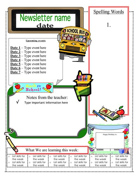 classroom newsletter template 3 6 free resources june 2012