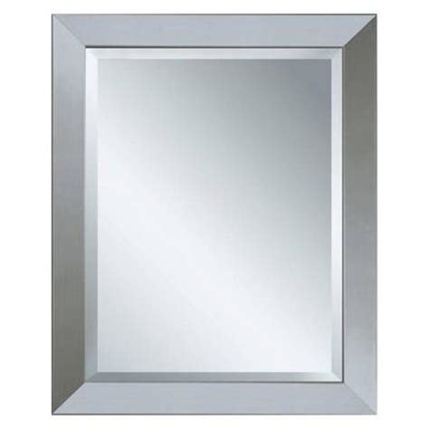 brushed nickel framed bathroom mirror glacier bay 28 in x 22 in framed mirror in brushed