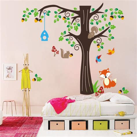 kids bedroom decals aliexpress com buy squirrel birds animals wall decal
