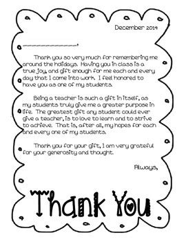 thank you letter to preschool from student thank you letter from to students by