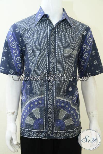 Kemeja Batik Sogan Milo hem batik tulis motif milo warna biru soft kemeja lengan pendek penunjang penilan pria karir