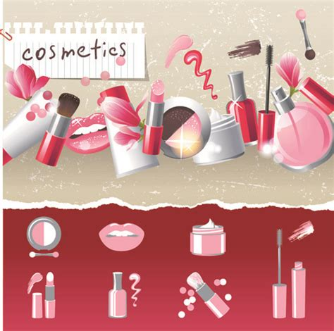design banner kosmetik cosmetics and make up elements vector free vector in