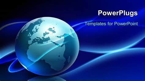 Powerpoint Template A Globe With A Bluish Background And Place For Text 4997 Globe Powerpoint Template