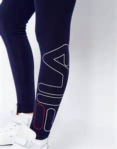 fila leggings with side logo in blue lyst