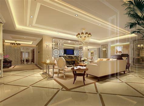 Luxury villas interior design 3d rendering