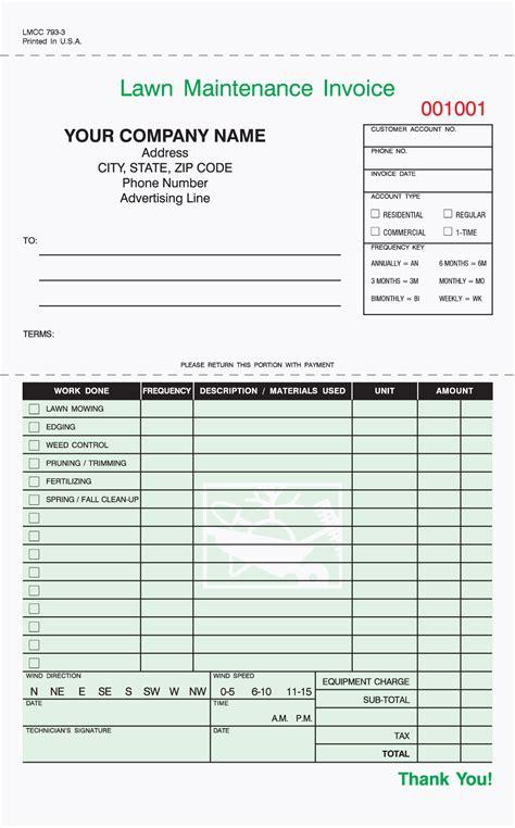Landscape Forms Custom 3 Part Lawn Care Invoice Carbonless 5 2 3