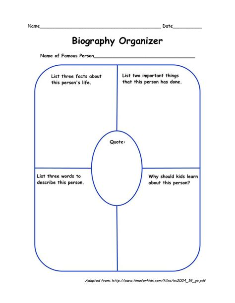 biography graphic organizer pinterest biography organizer language arts pinterest social