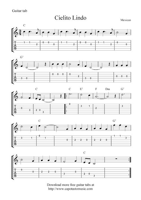 printable sheet music guitar free guitar tablature sheet music notes cielito lindo