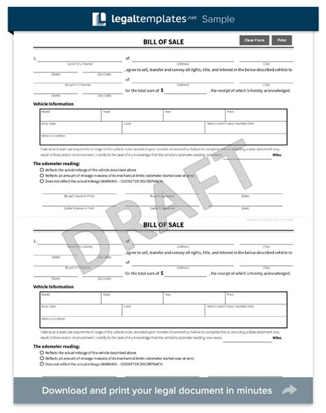 vermont dmv boat bill of sale free bill of sale forms pdf word templates view dmv