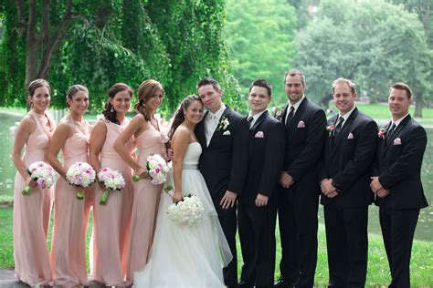 Bridesmaid Dresses And Tuxedos - pale pink bridesmaids dresses and black groomsmen tuxedos
