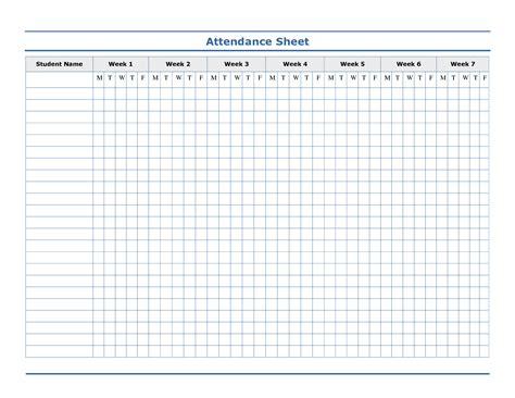 sample attendance sheet template weekly attaendance chart weekly