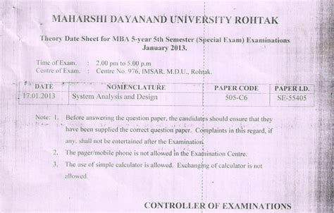 Mdu Mba Distance Admission 2017 by Result Mdu Datesheet Mba 5th Year 5th Sem