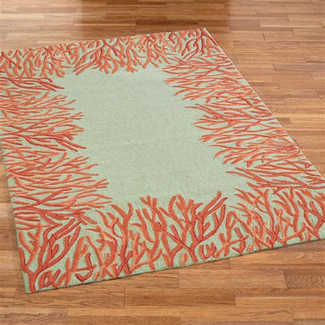 coral accent rug coral outdoor rug outdoor rug coral border in aqua