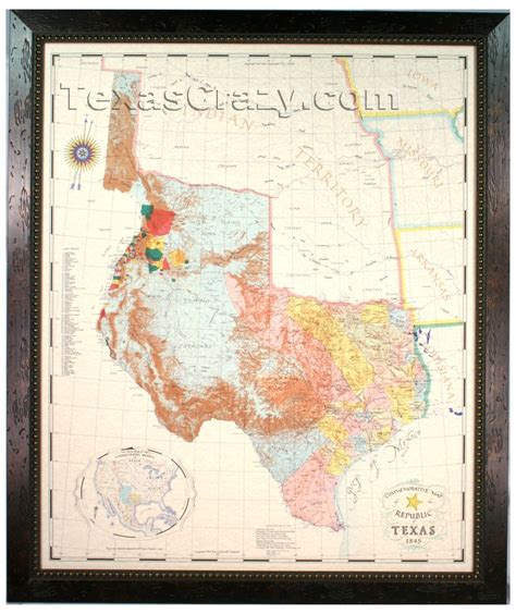 republic of texas map 1845 buy republic of texas map 1845 framed historical maps and flags home office decor