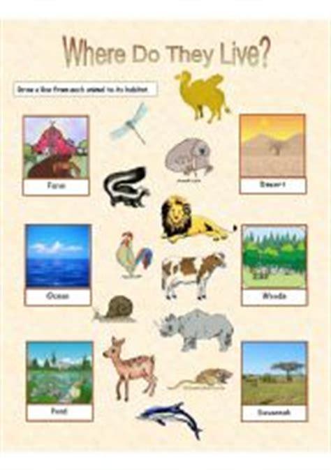 printable animal habitat matching game english teaching worksheets animal habitats