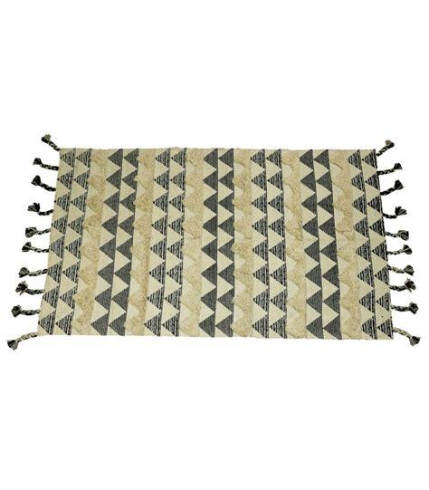 Tapis Rectangulaire Beige by Tapis Ethnique Rectangulaire Coton Noir Et Beige 90 150cm