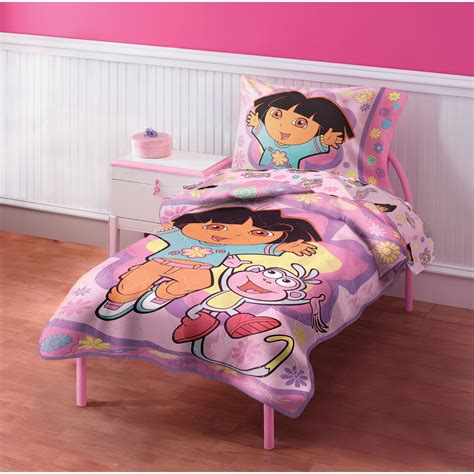 dora 4pc toddler bedding set girls bed comforter sheets ebay dora the explorer toddler bedding set 4pc comforter dora