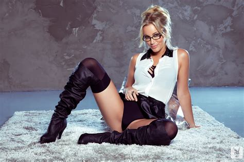Jenni Lynn Blonde Women Women With Glasses Knee High Boots Playboy Stockings