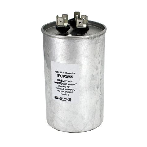 run capacitor specifications packard 440 volt 55 5 mfd dual motor run capacitor trcfd555 the home depot