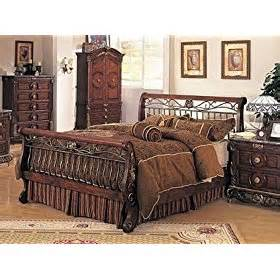 Metal And Wood Bedroom Sets Bourdeax Brown Wood Metal Size Sleigh Bed Canopy