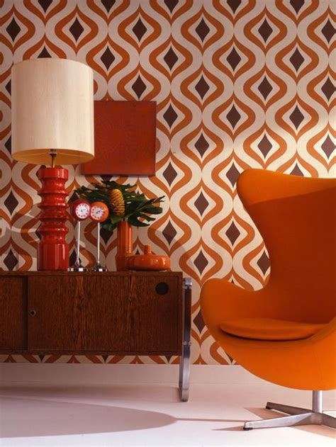 glorious mid century chair with orange accents wall art decorating with retro wallpaper 32 eye catchy ideas