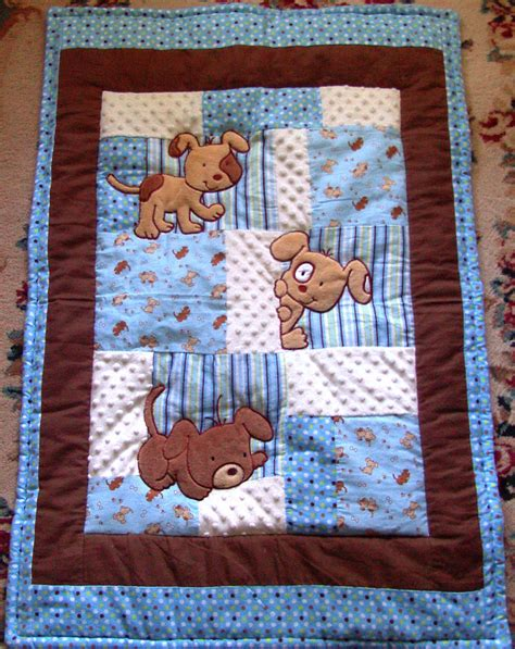 Baby Boy Patchwork Quilt - items similar to puppy baby quilt minky flannel blanket
