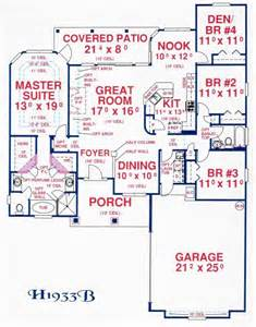 Floor Plans Without Garage by Ranch Plan 1 933 Square Feet 4 Bedrooms 2 Bathrooms