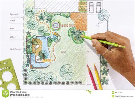 landscape design plans backyard landscape architect design water garden plans stock photo